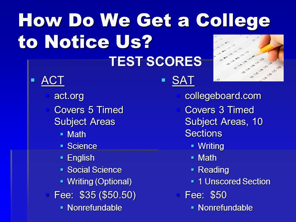How Do We Get a College to Notice Us? ACT ACT act.org act.org Covers 5 Timed Subject Areas Covers 5 Timed Subject Areas Math Math Science Science Engl