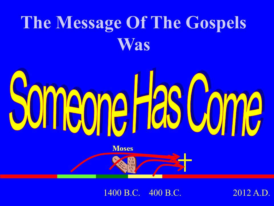 The Message Of The Gospels Was Moses 400 B.C.1400 B.C.2012 A.D.
