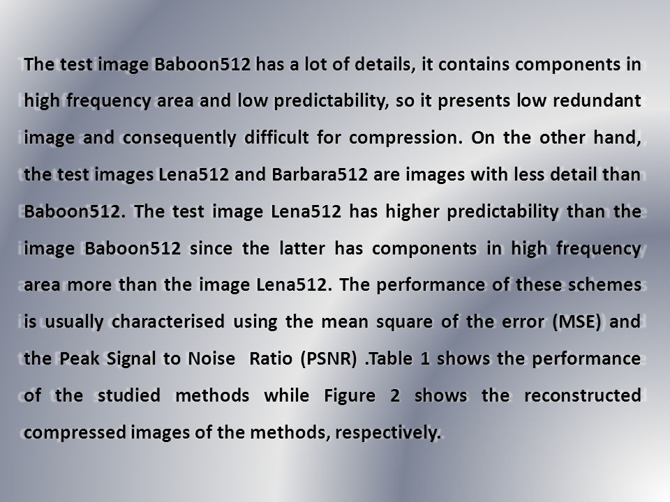 The test image Baboon512 has a lot of details, it contains components in high frequency area and low predictability, so it presents low redundant imag