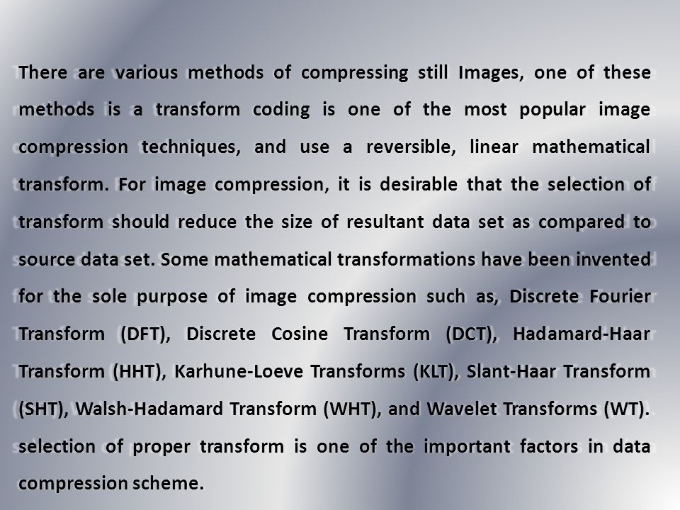 DCT converts data (image pixels) into sets of frequencies.