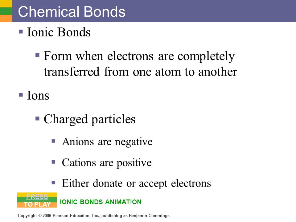 Copyright © 2006 Pearson Education, Inc., publishing as Benjamin Cummings Chemical Bonds Ionic Bonds Form when electrons are completely transferred fr