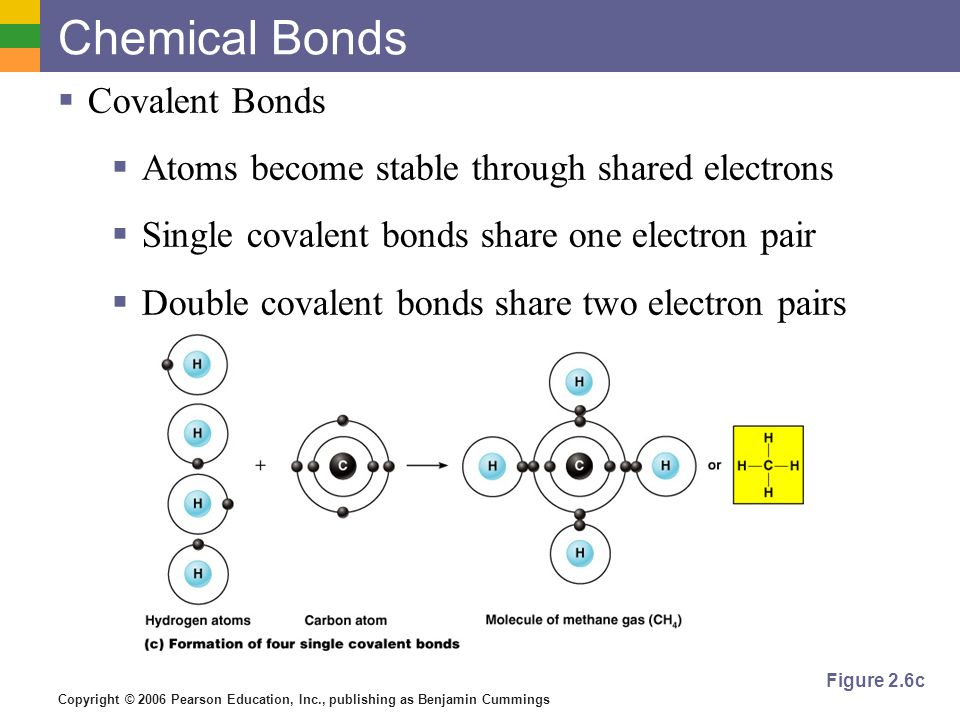 Copyright © 2006 Pearson Education, Inc., publishing as Benjamin Cummings COVALENT BONDS ANIMATION Examples of Covalent Bonds Figure 2.6a–b PRESS TO PLAY