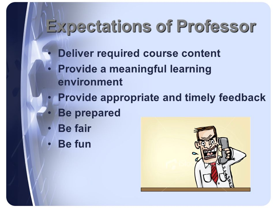 Expectations of Professor Deliver required course content Provide a meaningful learning environment Provide appropriate and timely feedback Be prepare