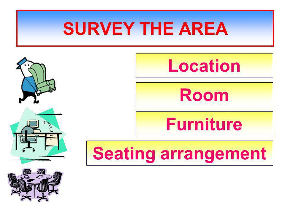 SURVEY THE AREA Location Room Furniture Seating arrangement