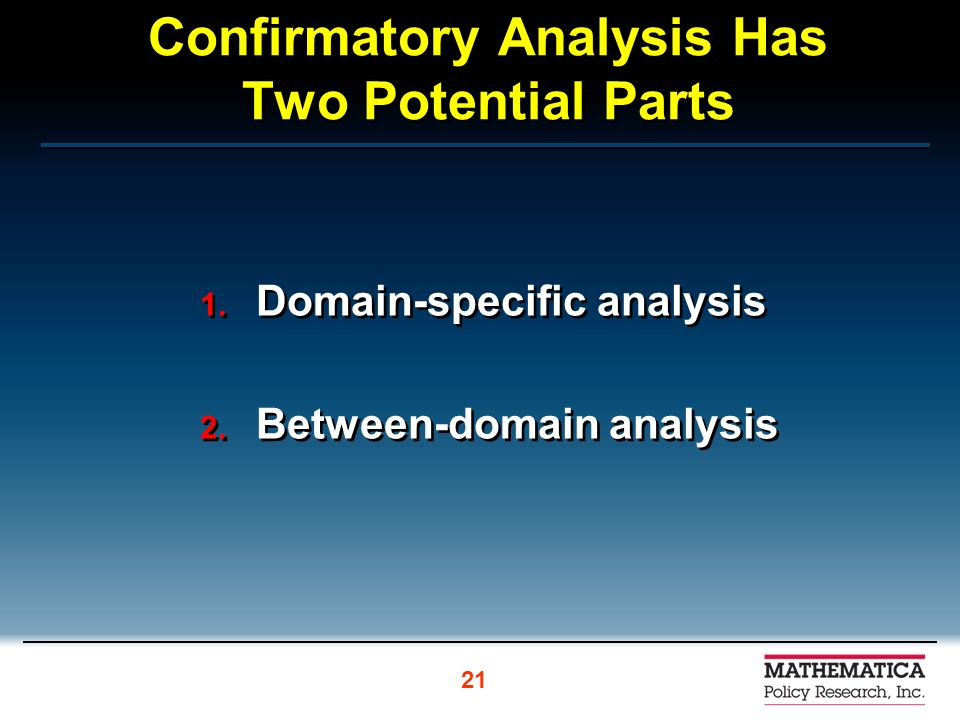 Confirmatory Analysis Has Two Potential Parts 1. Domain-specific analysis 2. Between-domain analysis 1. Domain-specific analysis 2. Between-domain ana