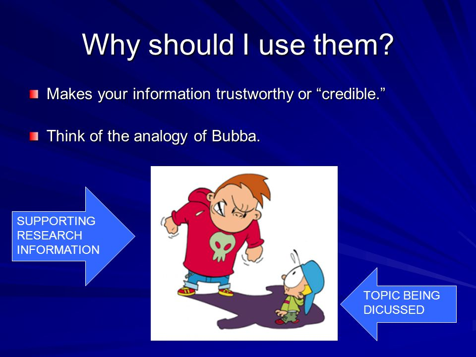 Why should I use them? Makes your information trustworthy or credible. Think of the analogy of Bubba. TOPIC BEING DICUSSED SUPPORTING RESEARCH INFORMA