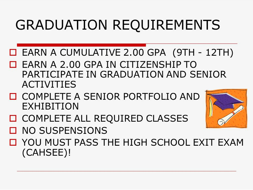 GRADUATION REQUIREMENTS EARN A CUMULATIVE 2.00 GPA (9TH - 12TH) EARN A 2.00 GPA IN CITIZENSHIP TO PARTICIPATE IN GRADUATION AND SENIOR ACTIVITIES COMPLETE A SENIOR PORTFOLIO AND EXHIBITION COMPLETE ALL REQUIRED CLASSES NO SUSPENSIONS YOU MUST PASS THE HIGH SCHOOL EXIT EXAM (CAHSEE)!