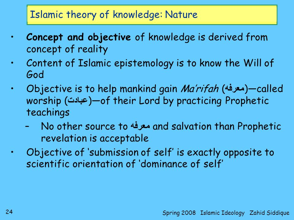 24 Spring 2008 Islamic Ideology Zahid Siddique Islamic theory of knowledge: Nature Concept and objective of knowledge is derived from concept of reali
