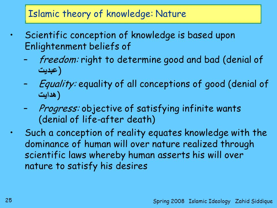 25 Spring 2008 Islamic Ideology Zahid Siddique Islamic theory of knowledge: Nature Scientific conception of knowledge is based upon Enlightenment beli