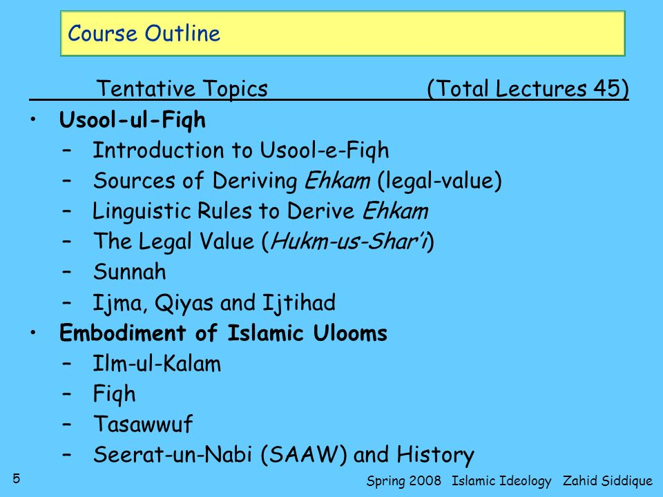 5 Spring 2008 Islamic Ideology Zahid Siddique Course Outline Tentative Topics(Total Lectures 45) Usool-ul-Fiqh –Introduction to Usool-e-Fiqh –Sources