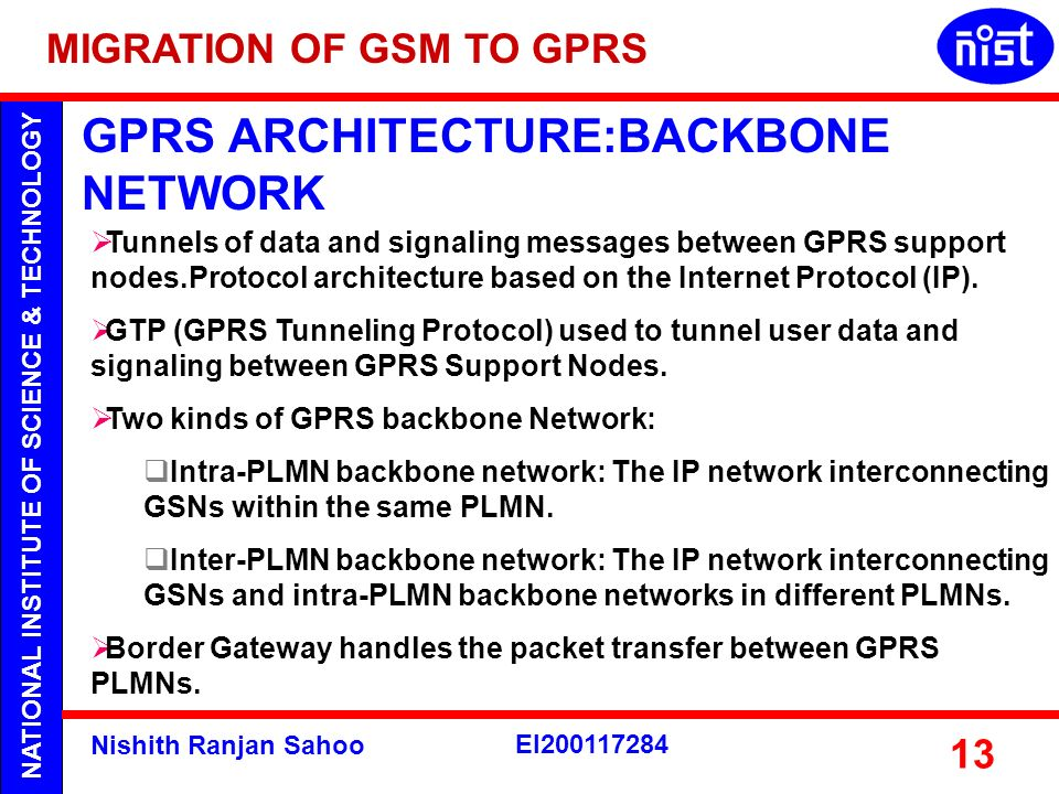 NATIONAL INSTITUTE OF SCIENCE & TECHNOLOGY Nishith Ranjan Sahoo EI200117284 13 GPRS ARCHITECTURE:BACKBONE NETWORK Tunnels of data and signaling messag