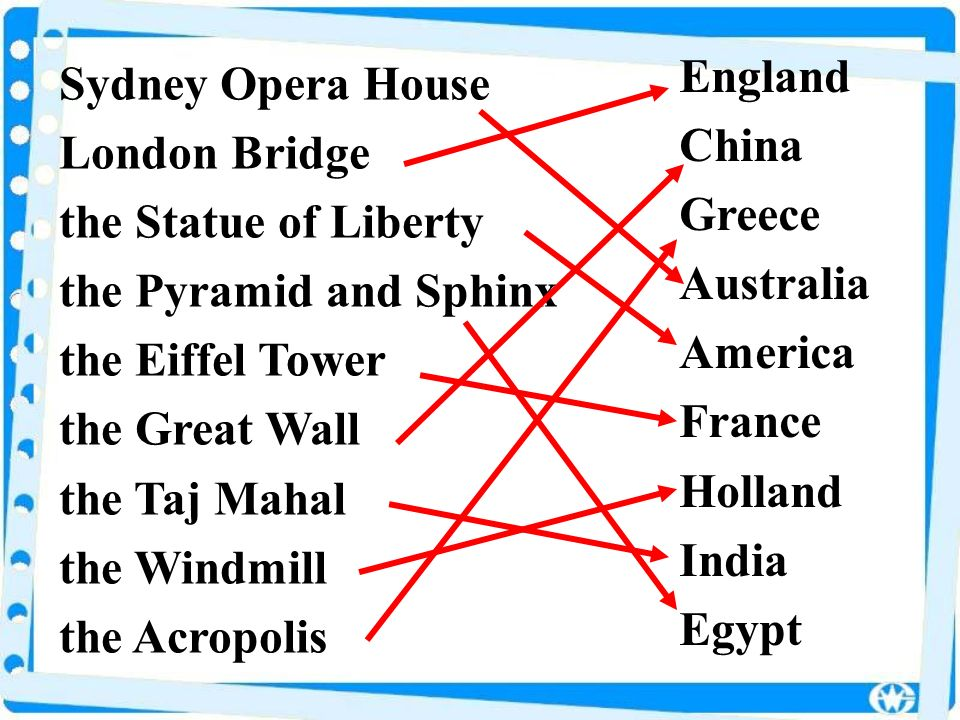 Sydney Opera House London Bridge the Statue of Liberty the Pyramid and Sphinx the Eiffel Tower the Great Wall the Taj Mahal the Windmill the Acropolis