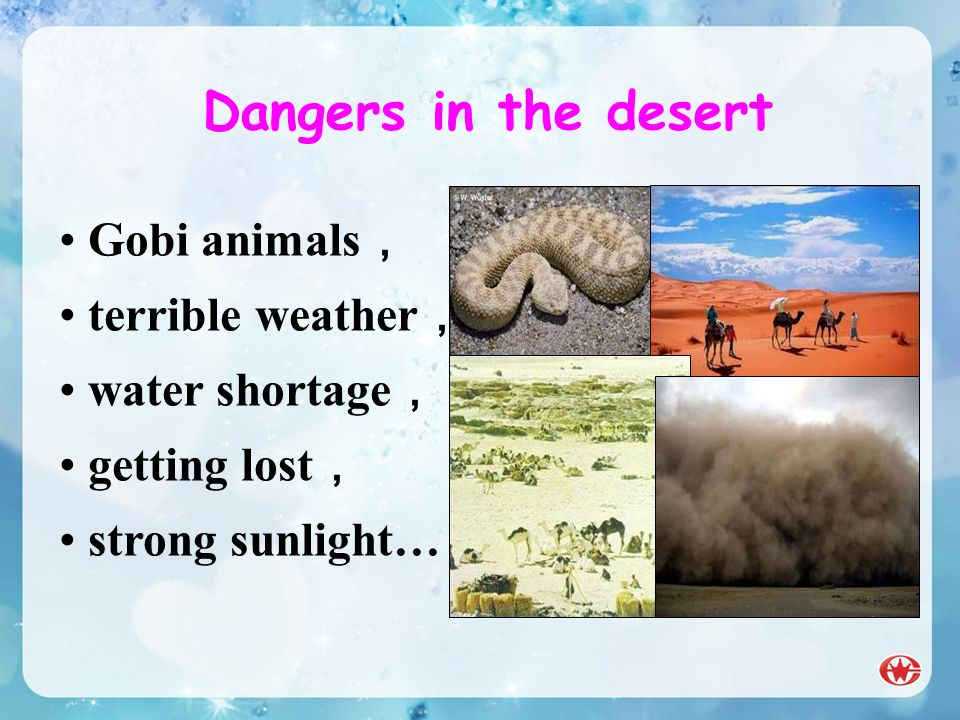 Dangers in the desert Gobi animals terrible weather water shortage getting lost strong sunlight…