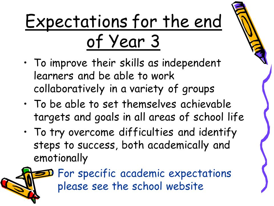 Expectations for the end of Year 3 To improve their skills as independent learners and be able to work collaboratively in a variety of groups To be able to set themselves achievable targets and goals in all areas of school life To try overcome difficulties and identify steps to success, both academically and emotionally For specific academic expectations please see the school website