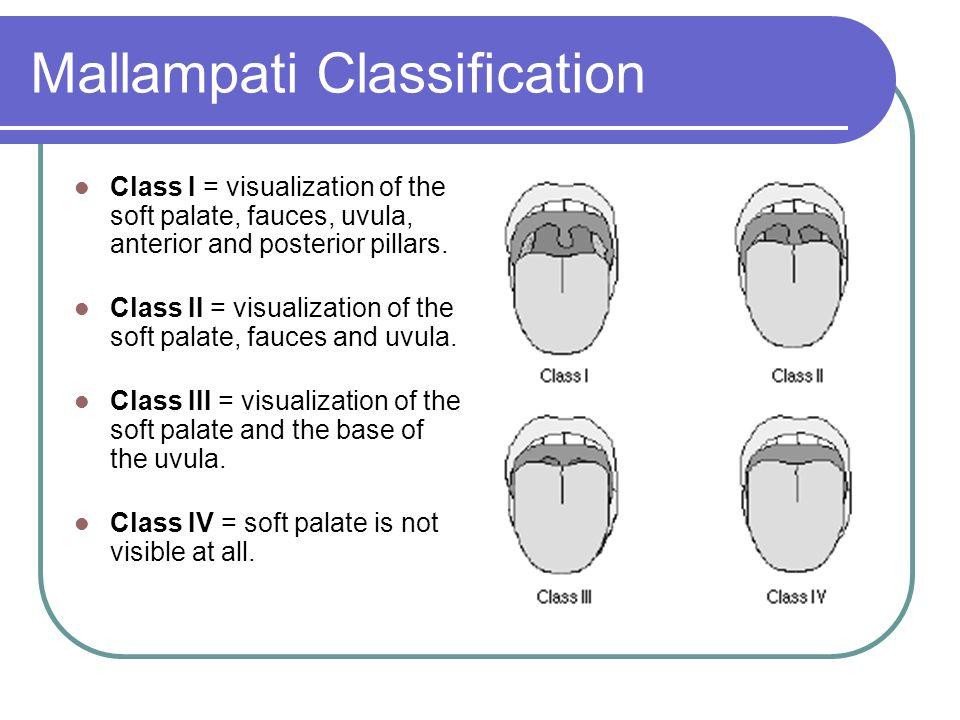 Mallampati Classification Class I = visualization of the soft palate, fauces, uvula, anterior and posterior pillars. Class II = visualization of the s