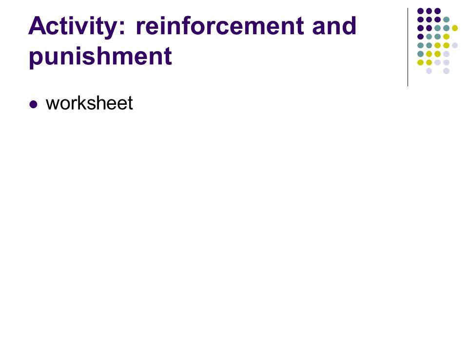 Activity: reinforcement and punishment worksheet