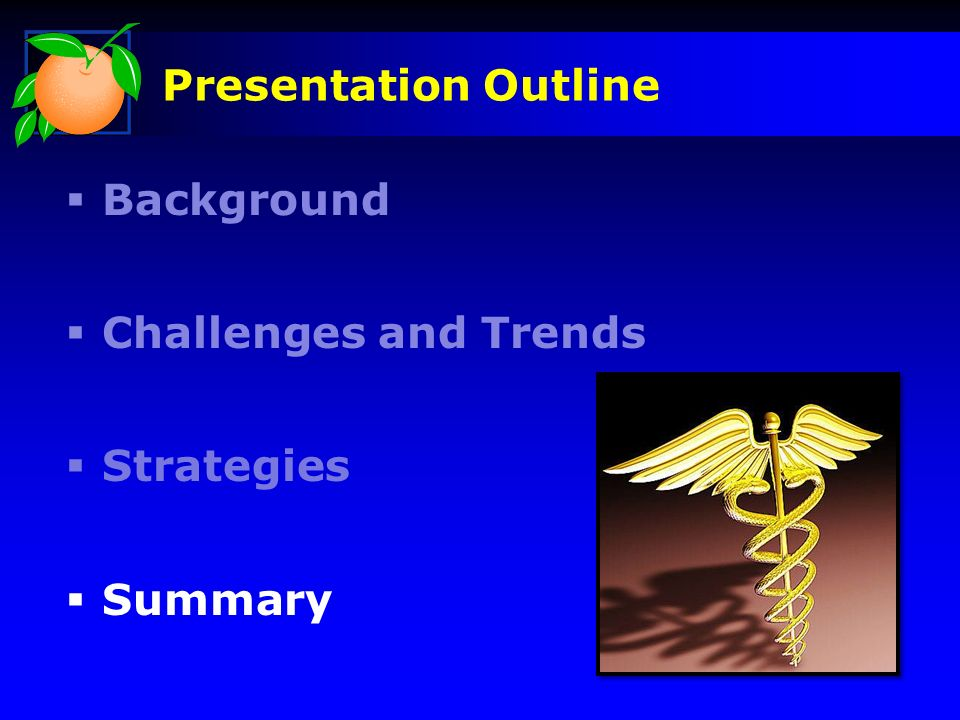 Presentation Outline Background Challenges and Trends Strategies Summary