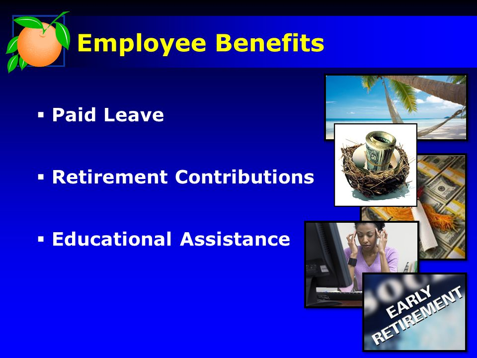 Employee Benefits Paid Leave Retirement Contributions Educational Assistance