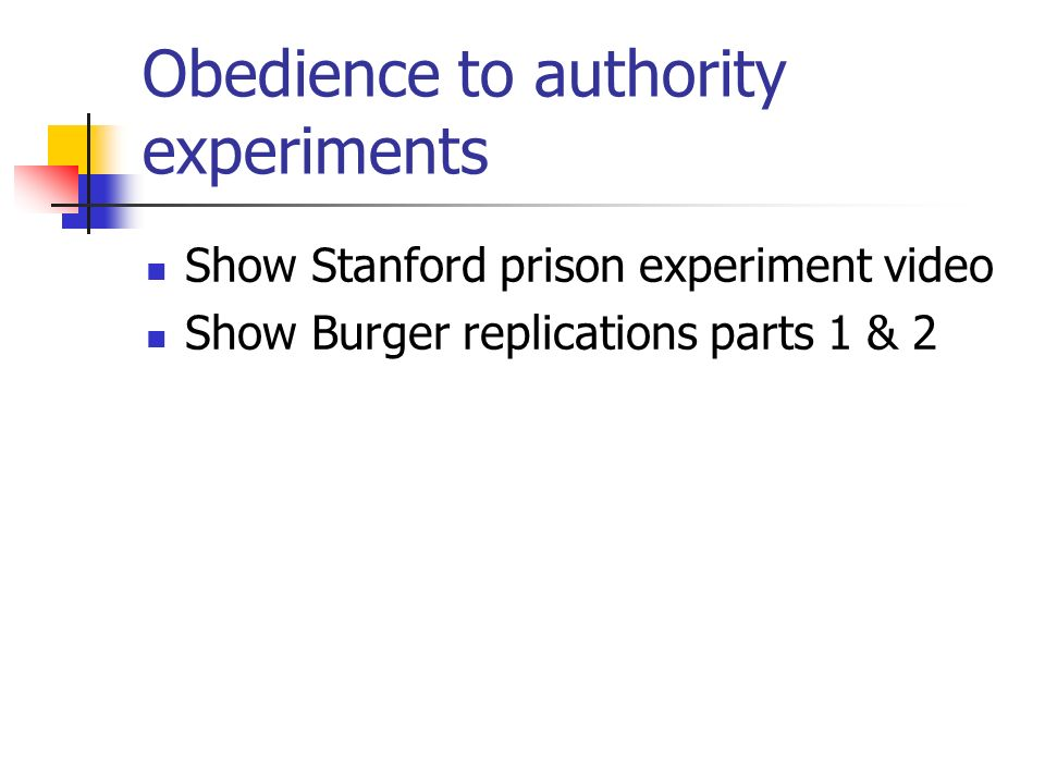 Obedience to authority experiments Show Stanford prison experiment video Show Burger replications parts 1 & 2