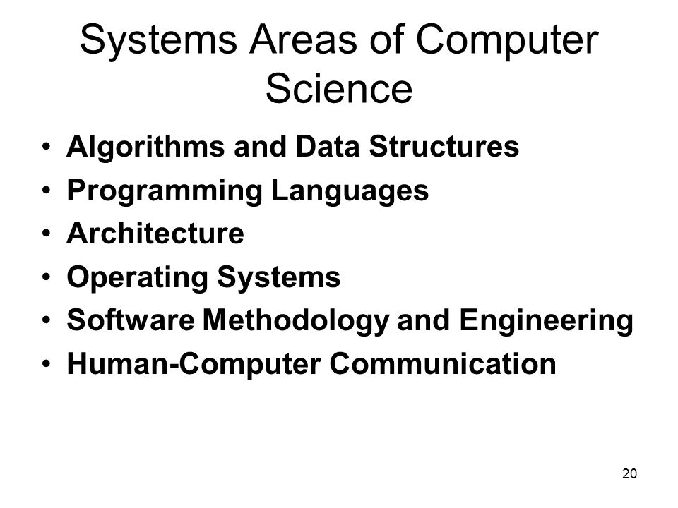 20 23 Systems Areas of Computer Science Algorithms and Data Structures Programming Languages Architecture Operating Systems Software Methodology and E