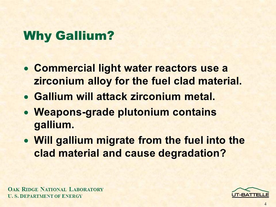 O AK R IDGE N ATIONAL L ABORATORY U. S. D EPARTMENT OF E NERGY 4 Why Gallium.
