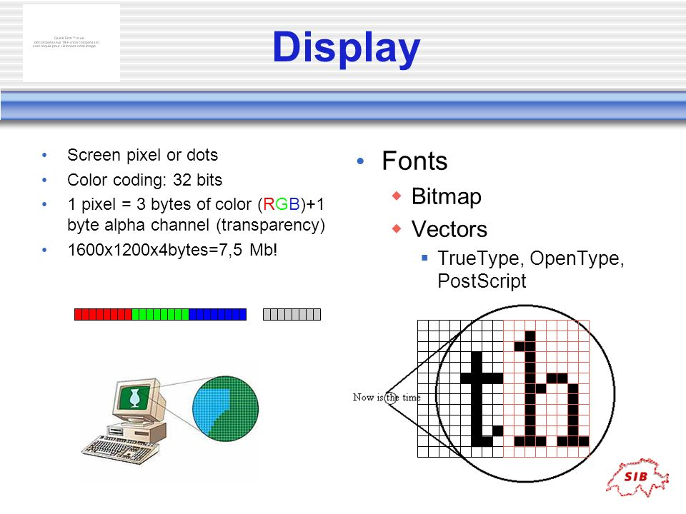 Display Screen pixel or dots Color coding: 32 bits 1 pixel = 3 bytes of color (RGB)+1 byte alpha channel (transparency) 1600x1200x4bytes=7,5 Mb! Fonts