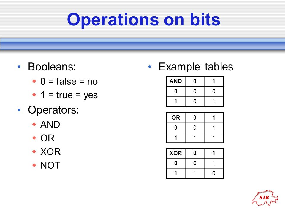 Operations on bits Booleans: 0 = false = no 1 = true = yes Operators: AND OR XOR NOT Example tables AND01 000 101 OR01 001 111 XOR01 001 110