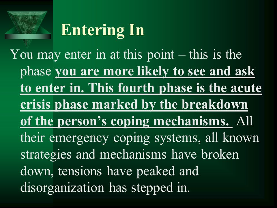 Entering In You may enter in at this point – this is the phase you are more likely to see and ask to enter in. This fourth phase is the acute crisis p