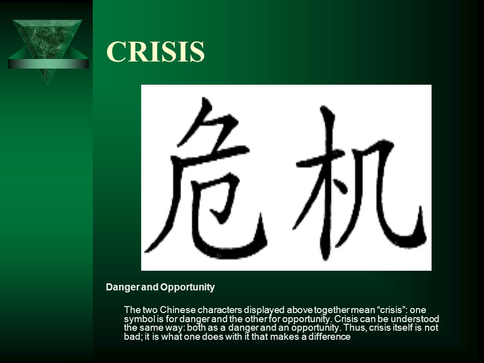 CRISIS Danger and Opportunity The two Chinese characters displayed above together mean crisis: one symbol is for danger and the other for opportunity.