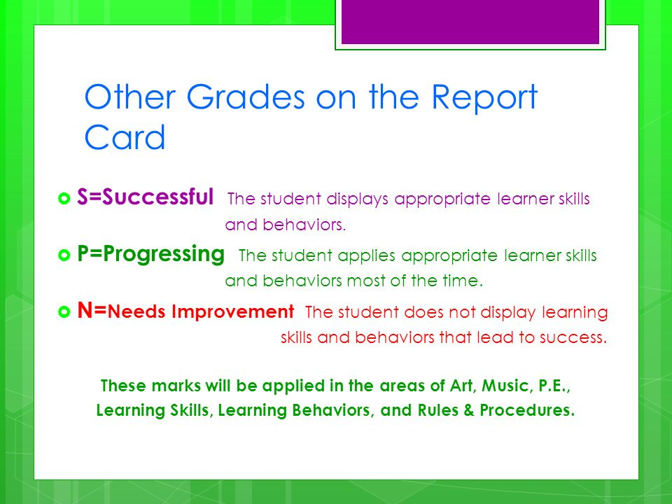 Other Grades on the Report Card S=Successful The student displays appropriate learner skills and behaviors.