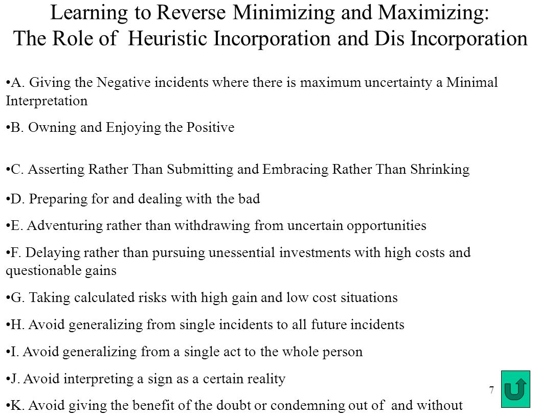 7 Learning to Reverse Minimizing and Maximizing: The Role of Heuristic Incorporation and Dis Incorporation A.