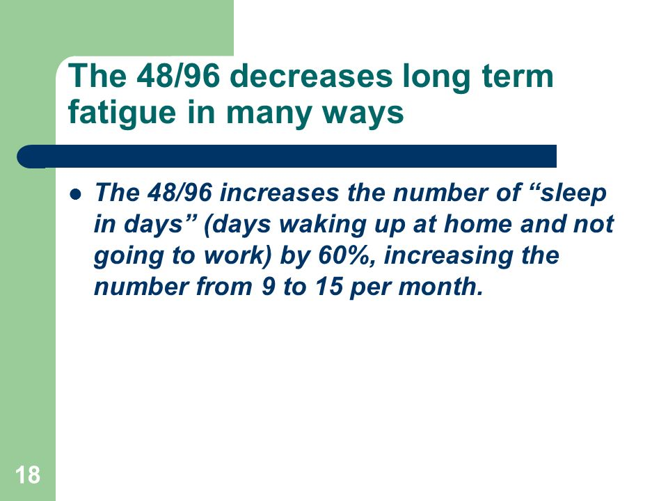 18 The 48/96 decreases long term fatigue in many ways The 48/96 increases the number of sleep in days (days waking up at home and not going to work) b