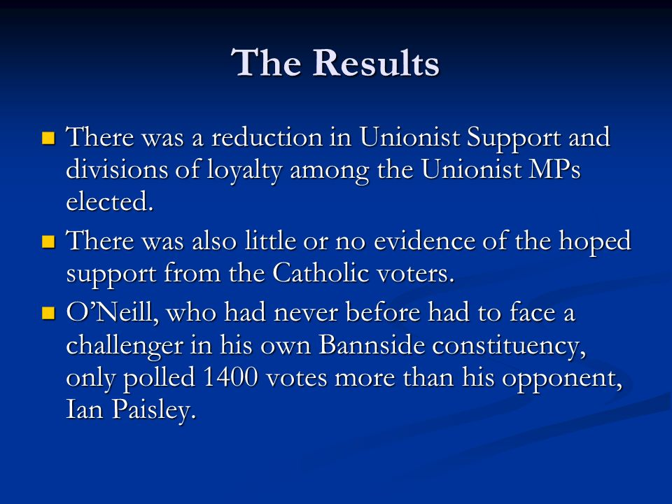 The Results There was a reduction in Unionist Support and divisions of loyalty among the Unionist MPs elected.