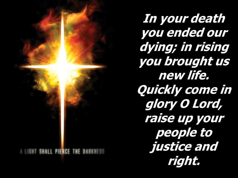 In your death you ended our dying; in rising you brought us new life. Quickly come in glory O Lord, raise up your people to justice and right.