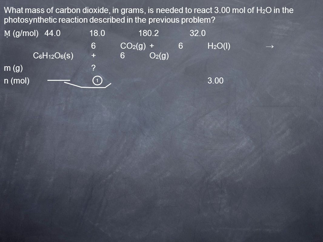 1 (g/mol) 44.0 18.0 180.2 32.0 6CO 2 (g)+6H 2 O(l) C 6 H 12 O 6 (s)+6O 2 (g) m (g)? n (mol)3.00 What mass of carbon dioxide, in grams, is needed to re