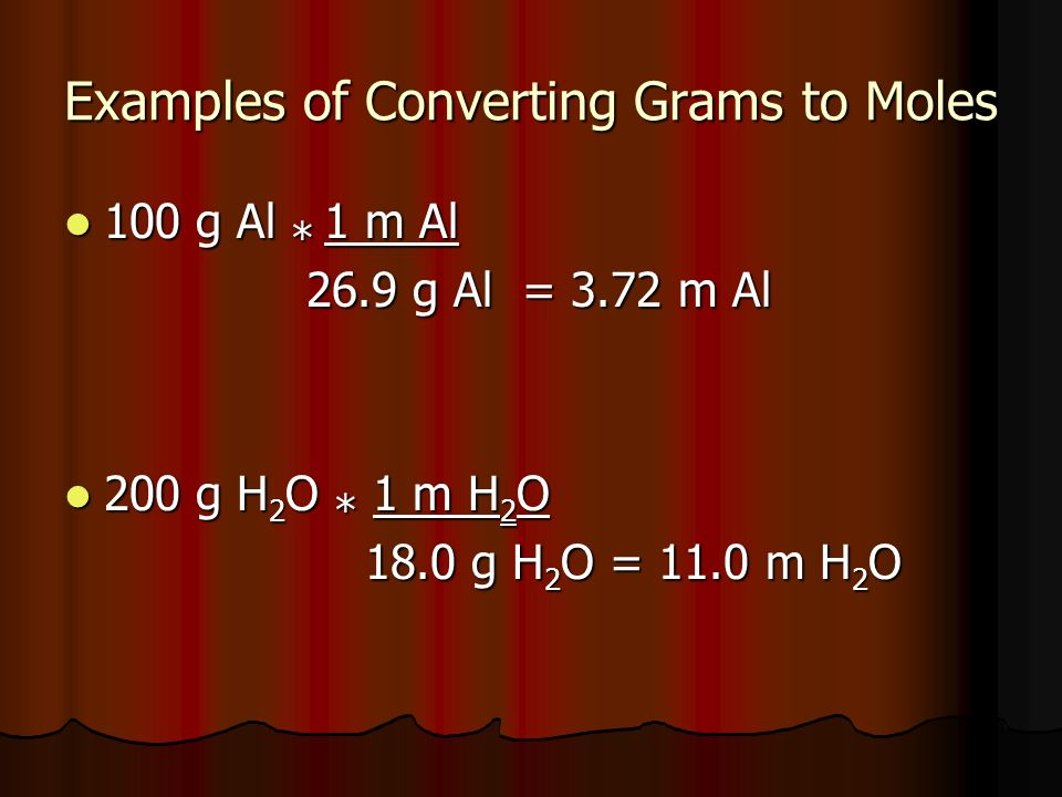 Examples of Converting Grams to Moles 100 g Al * 1 m Al 100 g Al * 1 m Al 26.9 g Al = 3.72 m Al 26.9 g Al = 3.72 m Al 200 g H 2 O * 1 m H 2 O 200 g H 2 O * 1 m H 2 O 18.0 g H 2 O = 11.0 m H 2 O 18.0 g H 2 O = 11.0 m H 2 O