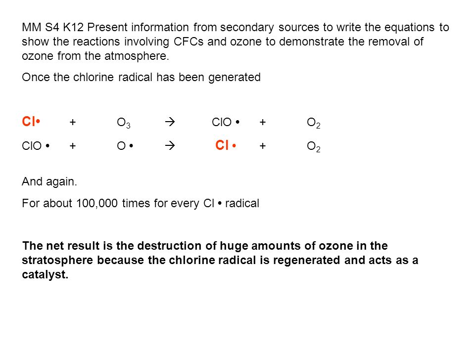 MM S4 K12 Present information from secondary sources to write the equations to show the reactions involving CFCs and ozone to demonstrate the removal of ozone from the atmosphere.