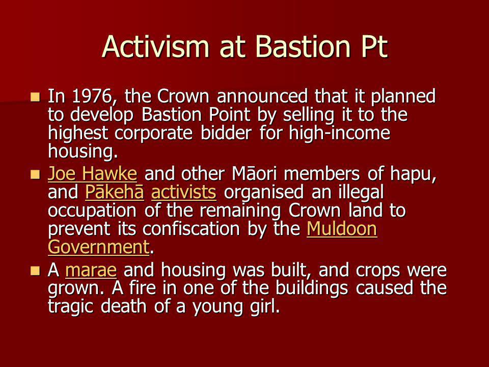 Activism at Bastion Pt In 1976, the Crown announced that it planned to develop Bastion Point by selling it to the highest corporate bidder for high-income housing.