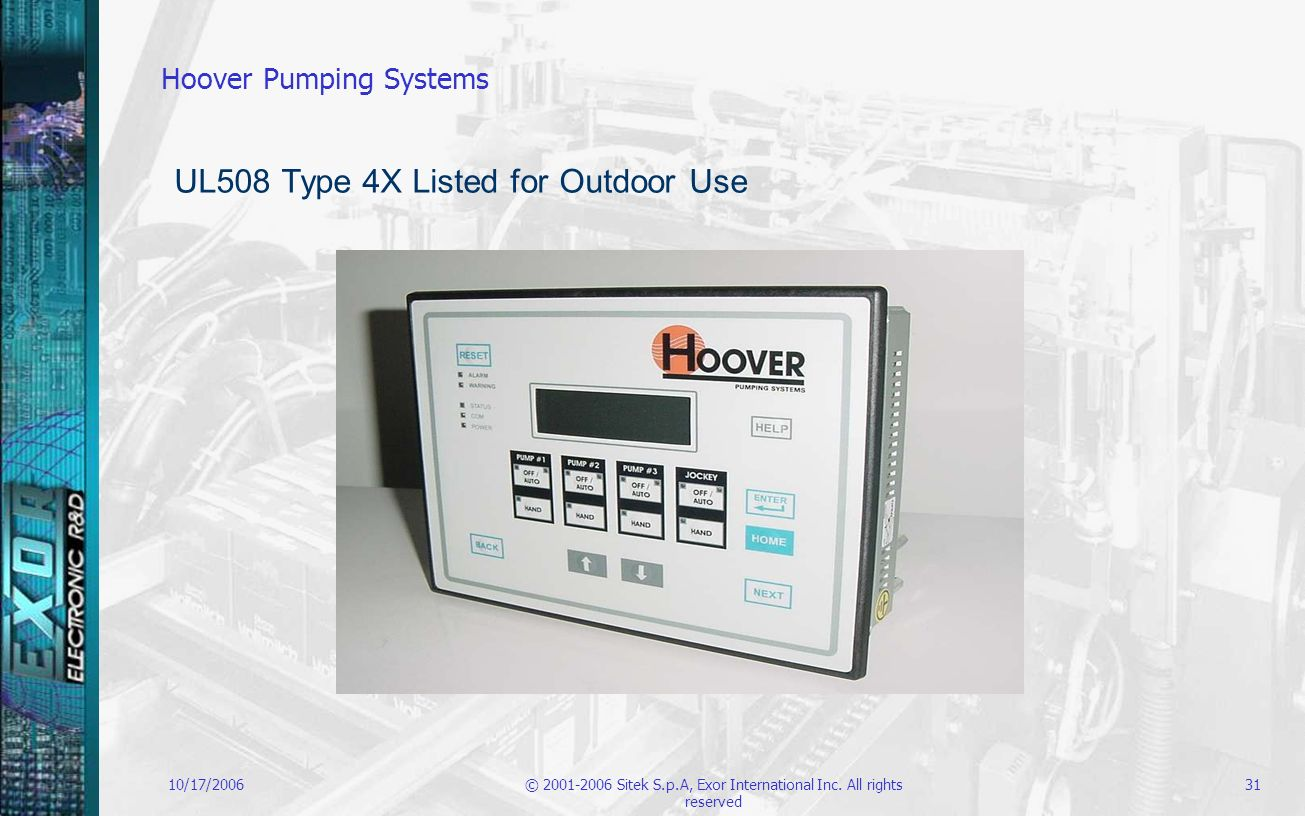 10/17/2006© 2001-2006 Sitek S.p.A, Exor International Inc. All rights reserved 31 Hoover Pumping Systems UL508 Type 4X Listed for Outdoor Use