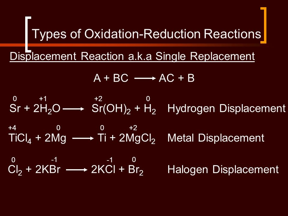 Displacement Reaction a.k.a Single Replacement A + BC AC + B Sr + 2H 2 O Sr(OH) 2 + H 2 TiCl 4 + 2Mg Ti + 2MgCl 2 Cl 2 + 2KBr 2KCl + Br 2 Hydrogen Dis