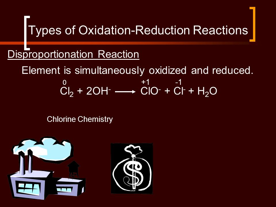 Disproportionation Reaction Cl 2 + 2OH - ClO - + Cl - + H 2 O Element is simultaneously oxidized and reduced. Types of Oxidation-Reduction Reactions C