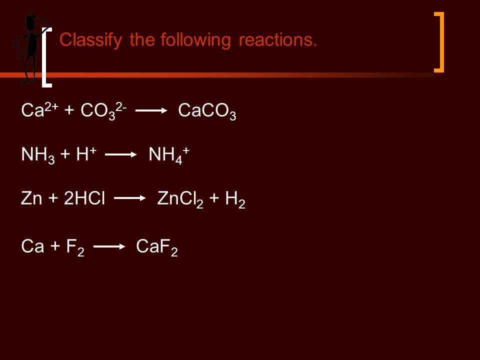 Ca 2+ + CO 3 2- CaCO 3 NH 3 + H + NH 4 + Zn + 2HCl ZnCl 2 + H 2 Ca + F 2 CaF 2 Classify the following reactions.