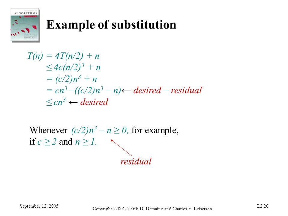 September 12, 2005 Copyright ?2001-5 Erik D. Demaine and Charles E. Leiserson L2.20 Example of substitution T(n) = 4T(n/2) + n 4c(n/2) 3 + n = (c/2)n