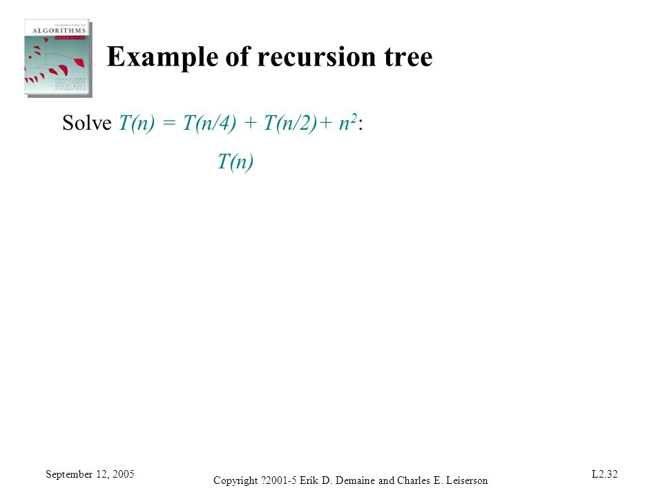 September 12, 2005 Copyright ?2001-5 Erik D. Demaine and Charles E. Leiserson L2.32 Example of recursion tree Solve T(n) = T(n/4) + T(n/2)+ n 2 : T(n)