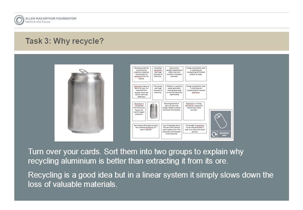 Task 3: Why recycle? Turn over your cards. Sort them into two groups to explain why recycling aluminium is better than extracting it from its ore. Rec