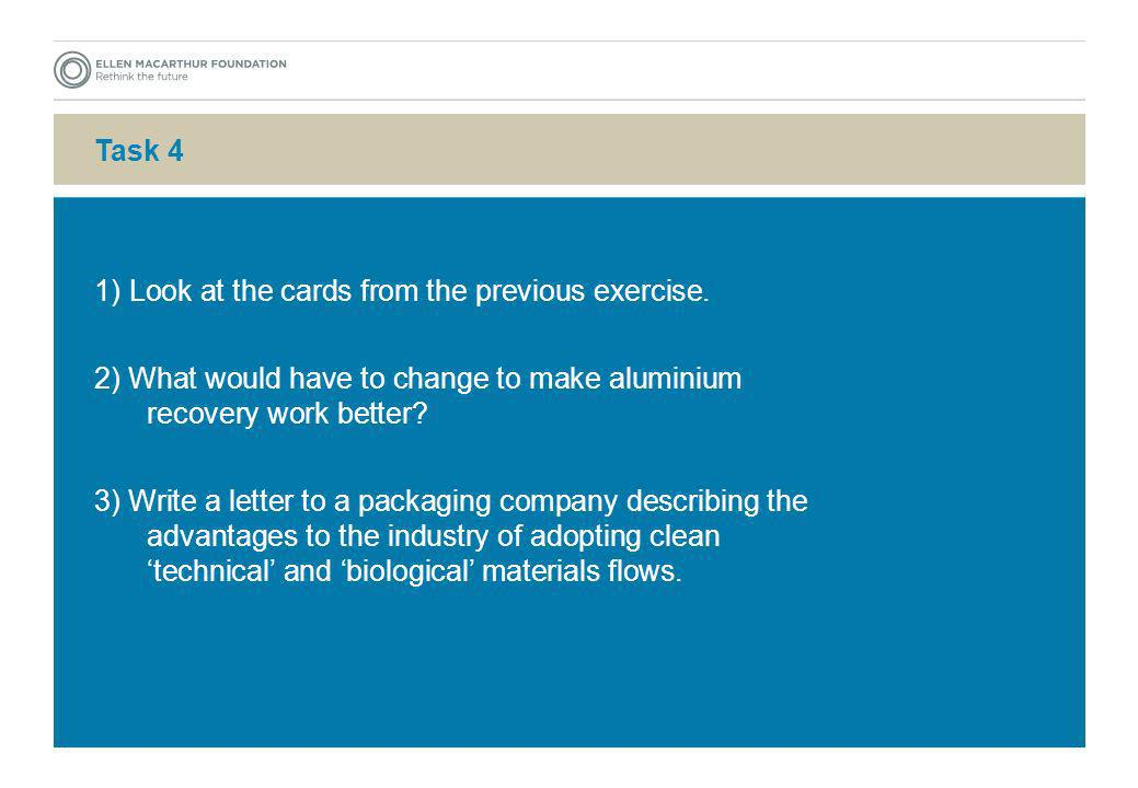 Task 4 1) Look at the cards from the previous exercise. 2) What would have to change to make aluminium recovery work better? 3) Write a letter to a pa