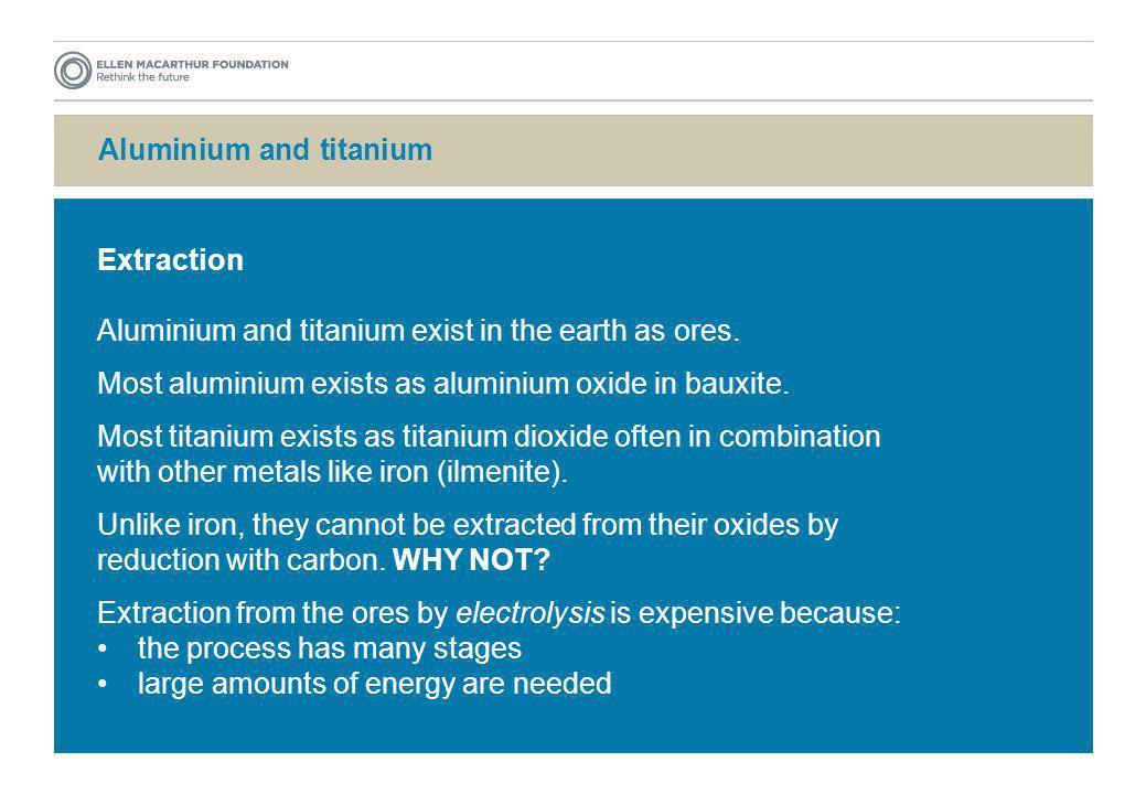 Aluminium and titanium Extraction Aluminium and titanium exist in the earth as ores. Most aluminium exists as aluminium oxide in bauxite. Most titaniu