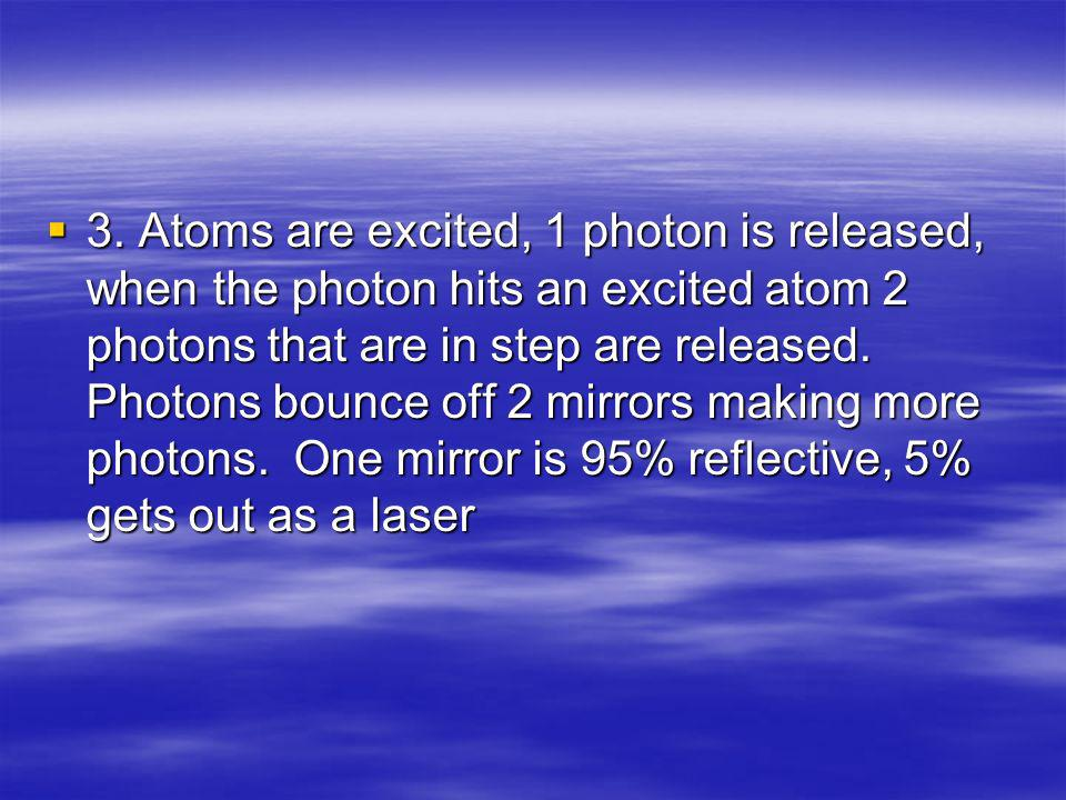 3. Atoms are excited, 1 photon is released, when the photon hits an excited atom 2 photons that are in step are released. Photons bounce off 2 mirrors