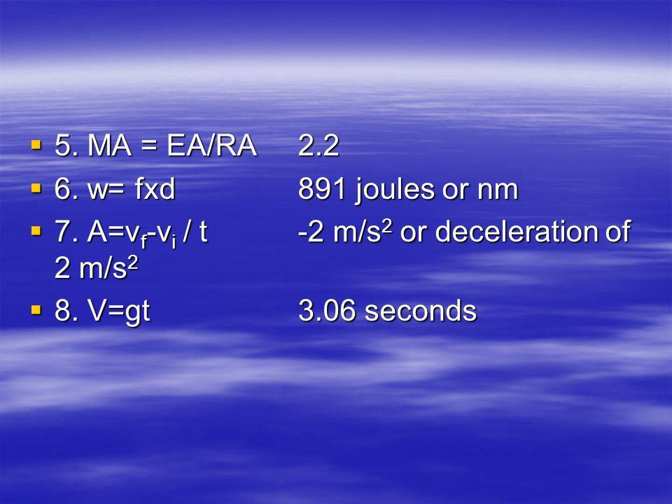 5. MA = EA/RA 2.2 5. MA = EA/RA 2.2 6. w= fxd891 joules or nm 6.