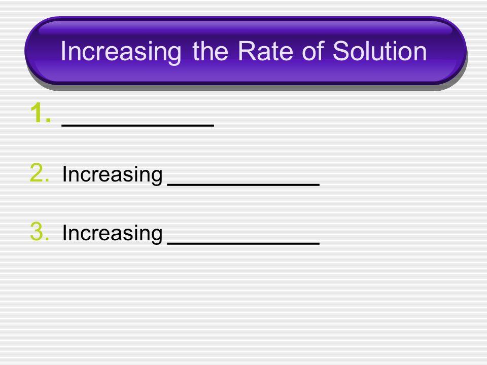 Increasing the Rate of Solution 1. ____________ 2. Increasing ____________ 3. Increasing ____________